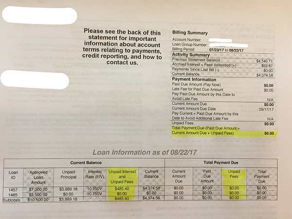 Student Loan Statement Showing $0 Amount Due